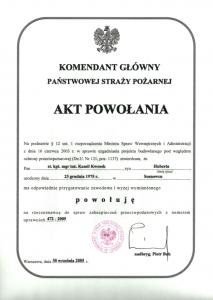akt powołania na rzeczoznawcę ds. zabezpieczeń przeciwpożarowych Kamil Kwosek