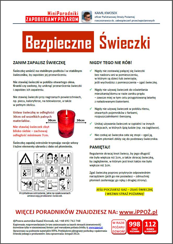 MiniPoradnik ppoż Bezpieczne Świeczki